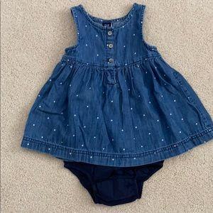 Gap Baby Denim Dress with Polka Dots